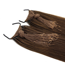 Dark Brown Color 20inch Straight Style Knot Thread Hair Human Virgin Remy Hair Extension