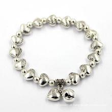 Pulseira de prata personalizada do metal do grânulo do logotipo da forma dos encantos do coração da forma