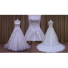 vestido de novia largo de longitud del tren apliques de encaje rebordear hombro