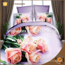 Chinese 100% polyester 3d flower printed bedding sets,hebei factory