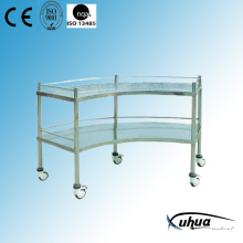 2 Shelves Hospital Medical Stainless Steel Instrument Trolley (Q-17)