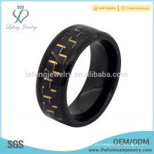 Anillo de titanio negro antiguo de fibra de carbono, anillos de titanio negro personalizado