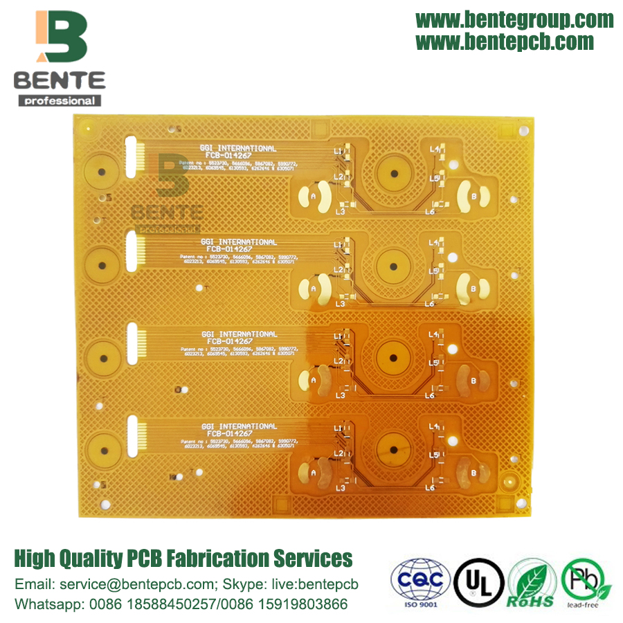 High precision Button board 2 layers Flex PCB Golden Finger