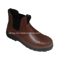 Shiny Smooth Leather Safety Shoes with Mesh Lining (HQ06005)