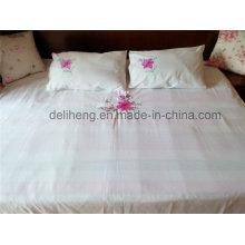 3PCS gebleichtes weißes 100% Polyester-Blumen-gesticktes Bettwäsche-Set