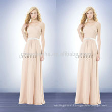 2014 Petal Pink Sheath Bridesmaid Dress Long Chiffon Strapless Sweetheart Prom Gown With Criss-Cross Pleats&Sash Accent NB0729