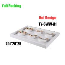 6 Slot White Leather Bangle Display Holder Box (TY-6WW-A1)