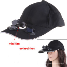 Cotton Baseball Cap with Solar-Driven Min Fan