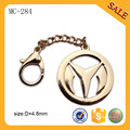 MC284 Custom gold metal handbag tag label plate with logo chain clasp