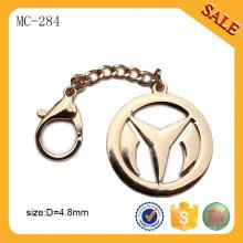 MC284 Personalizado metal ouro bolsa etiqueta placa de etiqueta com fecho de corrente logotipo