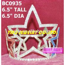 Coroas e tiaras redondas de estrelas e estrelas de beleza