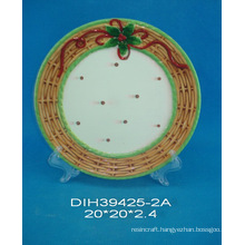 Hand-Painted Ceramic Round Plate for Christmas Decoration