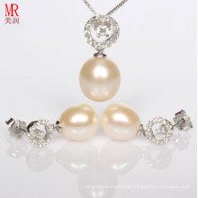 Neueste Perlenkette, Ohrringe Set Design mit Silber, Zirkon