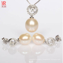 Latest Pearl Necklace, Earrings Set Design with Silver, Zircon