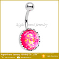 316L Surgical Steel Big Centered Pink Synthetic Fire Opal Navel Ring