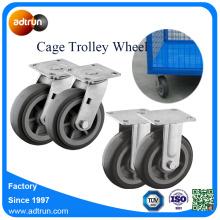 200 kg Kapacitet 6 tums PU Cage Trolley Wheels