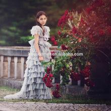 Geburtstagsgeschenk überlagert Tüll grau 2016 Sommer Prinzessin Hochzeit Party Fleece Ärmel Kuchen Mädchen Kleid für Party