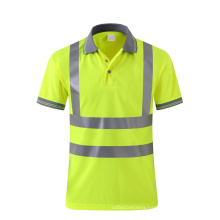 Fluorescent yellow breathable safety Polo shirt with reflective tape customzie logo availible
