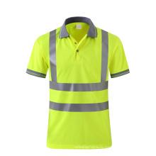 Флуоресцентная желтая дышащая защитная рубашка поло с отражающей лентой customzie logo availible