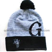 Popular Jacquard Cuff POM Ski Acrylic Knitted Beanie (TMK1571-1)