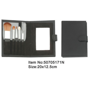5pcs travel dark gray plastic handle animal/nylon hair makeup brush tool set with black canvas case with mirror