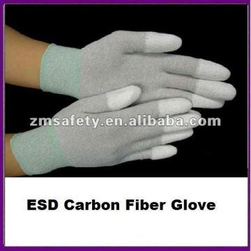 Guante de fibra de carbono recubierto con punta de PU ESD ESD
