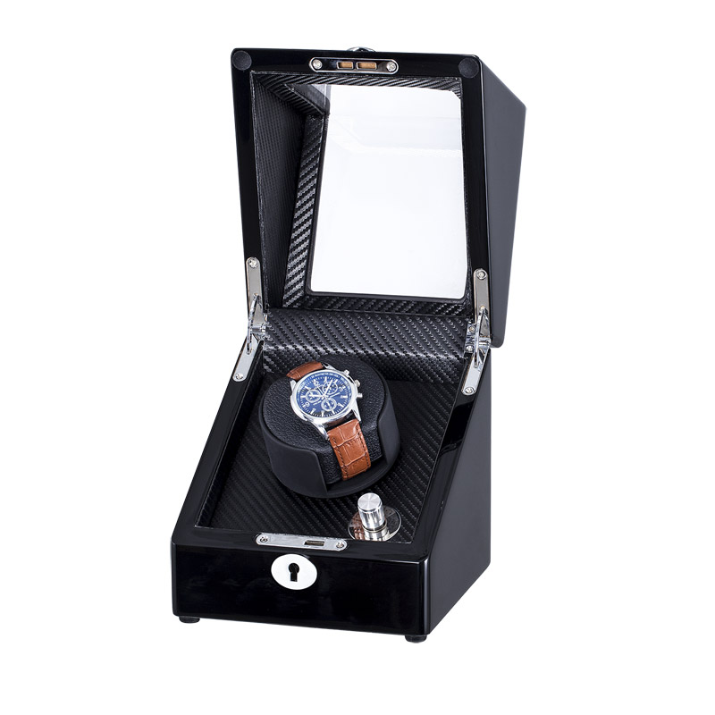 Black High Gloss Wooden Single Watch Winder