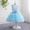 2017 new fashion short design blue color sleeveless ball gown lace flower girl dress wholesale