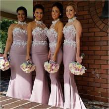Graceful Halter Chiffon- lange Meerjungfrau-Brautjunfer-Kleid mit Blumen-Spitze Applique-Kleidern für Hochzeits-Gäste Freies Verschiffen ML120