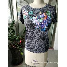 Camiseta estampada bordada con estampado de flores de verano para mujeres