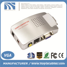 Computer VGA to AV RCA TV Monitor S-Video Signal Converter Adapter Switch Box PC Laptop