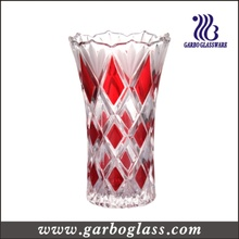 Jarrón de cristal de patrón de diamante para el banquete de boda