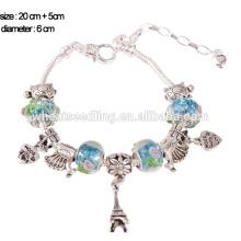 2015 moda jóias murano pulseira de liga de contas de vidro, pulseira de charme, jóias artesanais