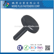 Made in Taiwan Steel Knurled Thumb Screw Flat Head Black Oxide