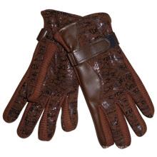Lady Fashion Acryl Gestrickte PU-Leder-warme Handschuhe (YKY5003)
