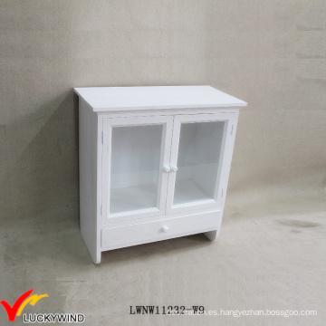Puertas de vidrio Vintage francés artesanal pequeño gabinete de pared