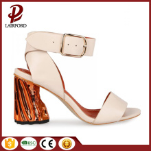 stylish low heel pu leather ladies sandals