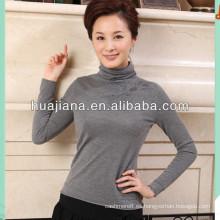 suéter de cuello alto de punto de cachemira más fino de las mujeres