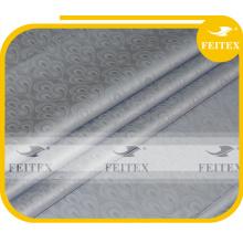 Neueste Design African Fabric Guinea Brokat 100% Baumwolle Nigeria Damast Shadda Bazin Riche Grau Farbe FEITEX