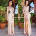 Femmes nouvelle robe élégante sans manches col profond haute sexy split longue robe de bal 2016
