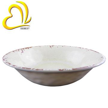 Cuenco de sopa plástica de la melamina del diseño de la grieta rústica blanca