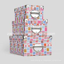 Caja de almacenamiento de papel de cartón con mango de metal y protector de esquina