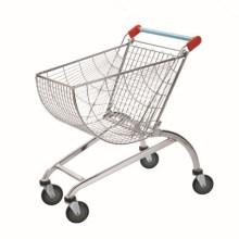 Große Supermarkt-Warenkörbe, die mit Chrom-Einkaufslaufkatze beendet werden