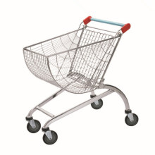 Large Volume Supermarket Carts Finished with Chrome Shopping Trolley