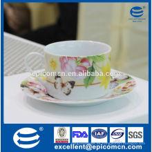 Decoración de mariposas y flores Conjunto de té de porcelana rusa conjunto, taza de té de cerámica y platillo