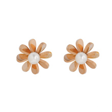 E-673 xuping elegant stainless steel rose gold color flower shape design women's stud earrings