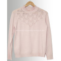 Lace collar cashmere sweater