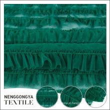 Estilo popular elegante poliéster verde chiffon tecido de renda para o vestido