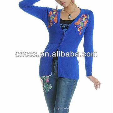 13STC5653 Moda mujer suéter estilo chino señoras chaqueta de punto suéter