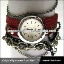 Par de niña de chico vintage retro envolver pulseras de cuero barato pulsera de reloj